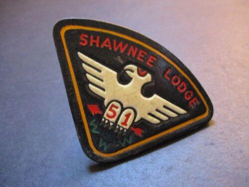 51 Shawnee Lodge leather black background BSA boy scout neckerchief slide