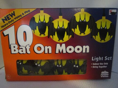 Vintage 10 Halloween Bat On Moon Electric String Lights Set Pumpkin Time NEW