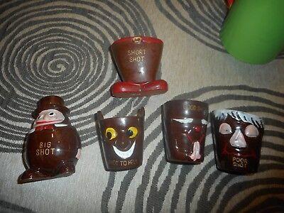 Vintage Lot of 5 Funny Shot Glasses](Funny Shot Glasses)