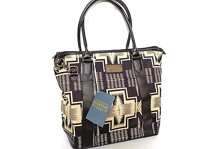 New Pendleton Black Leather and Canvas Harding Collection Travel Tote Bag