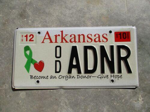 Arkansas 2010 Become an Organ Donor license plate  # ADNR