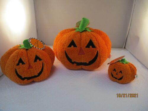 "Lot of 3 NWT Hallmark Halloween/Fall Plush Pumpkins 3.5"" & 6"" & 8"""
