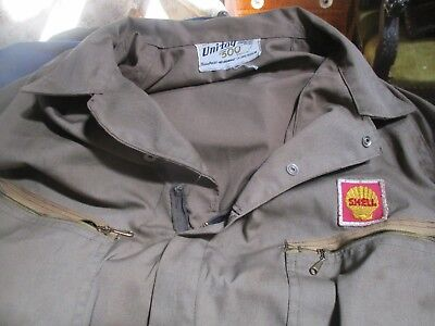 c8c2a744 Vintage SHELL Gas Service Station Mechanic COVERALLS, UNITOG 500, NO-RESERVE