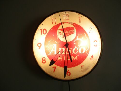 "Original Vtg PAM Ansco All Weather Film Advertising Convex Glass Clock 15"" WORKS"