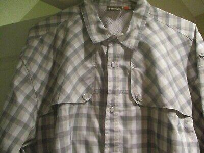 Howler Bros Men's El Mono White,Gray, Long Sleeve Vented Pearl Snap Shirt SizeXL