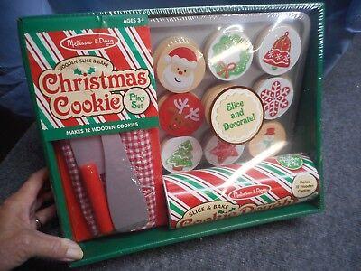 MELISSA & DOUG WOODEN SLICE & BAKE CHRISTMAS COOKIE PLAY SET NEW IN BOX