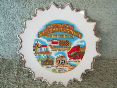 Vintage Howdy Folks Coors  Ceramic Plate Golden CO Where the West Remains Nice