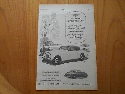 Vintage Jensen Interceptor Advert -- Original -- from 1952