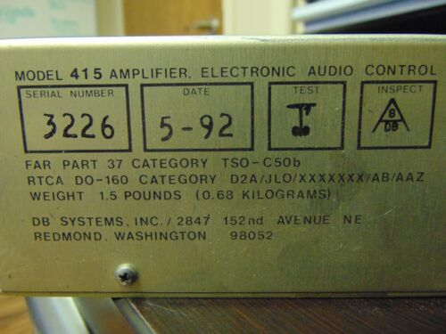 415 Amplifier Electronic Audio Control