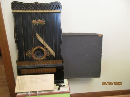 Antique Harp Zither Strings Germania #5 In Box With 36 Song Cards & Metal Tuner