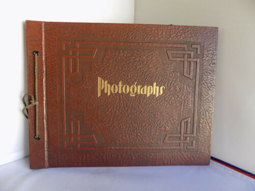 Vintage Art Deco Photo Album Scrapbook Embossed Large Unused 20 Pages + Corners