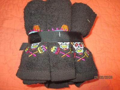 Halloween Embroidered Sugar Skull Maracas Cotton Face Wash Cloths Set of 6](Sugar Skull Halloween Clothing)