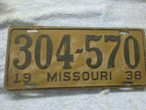 1938 MISSOURI LICENSE PLATE