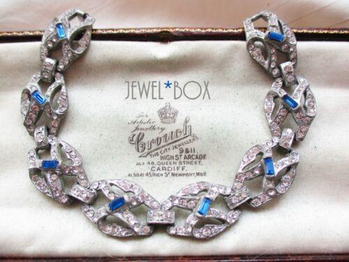 VINTAGE ART DECO GORGEOUS SAPPHIRE BAGUETTE CRYSTAL DIAMOND RHINESTONE BRACELET