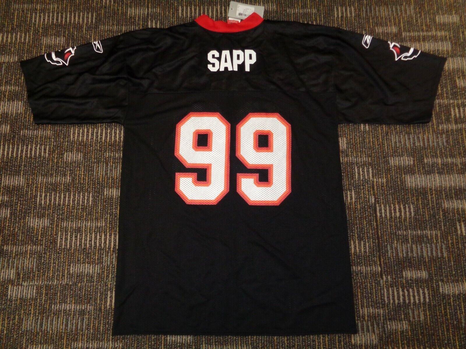 NWT WARREN SAPP 99 TAMPA BAY BUCCANEERS REEBOK BLACK NFL GAME FOOTBALL JERSEY  - $34.99