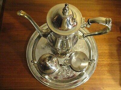 Vintage Wm. A. Rogers Silver Plate Tea Set (5) Piece Tea Pot, Sugar W/Lid, Cream (Cream Tea Plate)