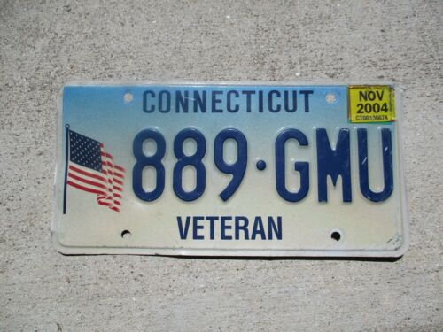 Connecticut 2004 Veteran license plate  #  889 - GMU