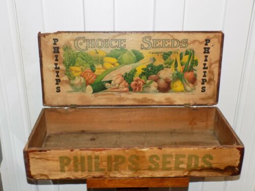 Vintage Philips Seeds Wooden Display Box
