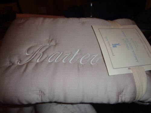Pottery Barn Kids Amelia Tencel Quilted sham  Dusty Rose monogrammed KARTER New