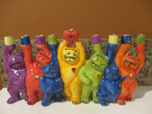 Plaut Judaica Colorful Ceramic Hanukkah Menorah Cats Candle Holder Hand Painted