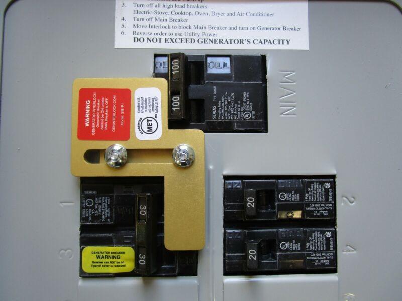 SIE-P1 Murray Siemens Generator interlock kit 100 Amp Panel LISTED