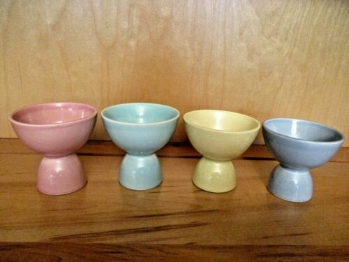 FOUR LuRay PASTELS DOUBLE EGG CUPS~Pink~Yellow~Blue~Green~U.S.A.~ T.S. & T.