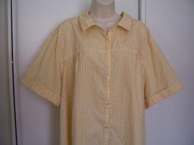ROAMAN'S Womens PLUS Size 34W Short Sleeve Button Down Striped Yellow Shirt