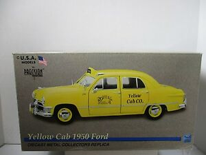 1/18 SCALE  PRECISION MINIATURES 1950 FORD YELLOW TAXI CAB