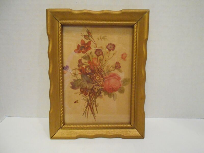 """Vintage Pink and Purple Flower Picture in Gold Frame - 6.5"""" X 8.5"""" Overall"""