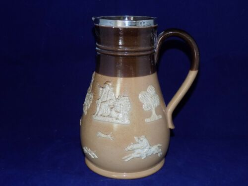Doulton Lambeth Antique StoneWare- Pitcher w/ Sterling Ring on Top
