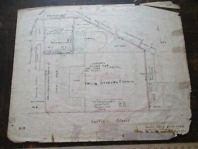 1883 Hand Drawn Survey for the Historical Hollis Street Church, Boston, MA