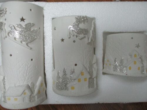 WINTERLANE 3 PORCELAIN BATTERY OPERATED CHRISTMAS CANDLE HOLDERS - NEW