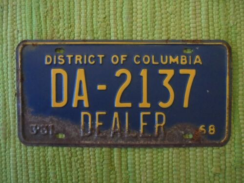 1968 District of Columbia DEALER License Plate Washington DC 68 Tag DA-2137