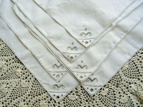 Vintage Napkins Set of 6 Antique Linen  Italian Cutwork Embroidered Ecru