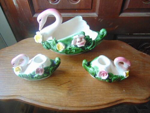 (3 piece set ) Vintage CERAMIC SWAN / FLAMINGO Pink 1 dish  2 candle holders
