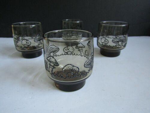 Vtg LIBBEY Smoke Brown Mushroom Toadstool Drinking Glasses Set of 4 LOT 2