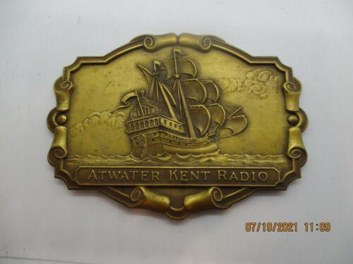 Vintage Atwater Kent Radio Brass/tin--PIRATE SHIP NAME PLATE--R4