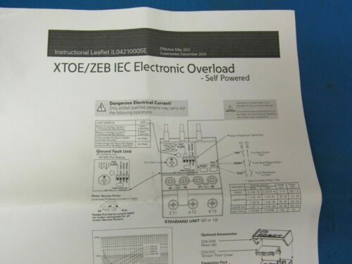 EATON XTOE/ZEB IEC Electronic Overload XTOE100DGS