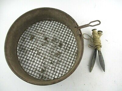 "Vintage Metal 10"" Garden Riddle Sieve & Row Markers"