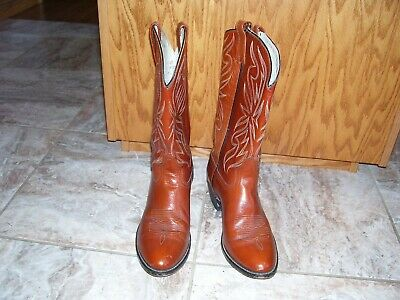 NICE !! Men's Acme Circle A Brown Leather Western Cowboy Boots Size 10.5 D