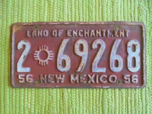 1956 New Mexico License Plate 56 NM Land of Enchantment Tag 2-69268