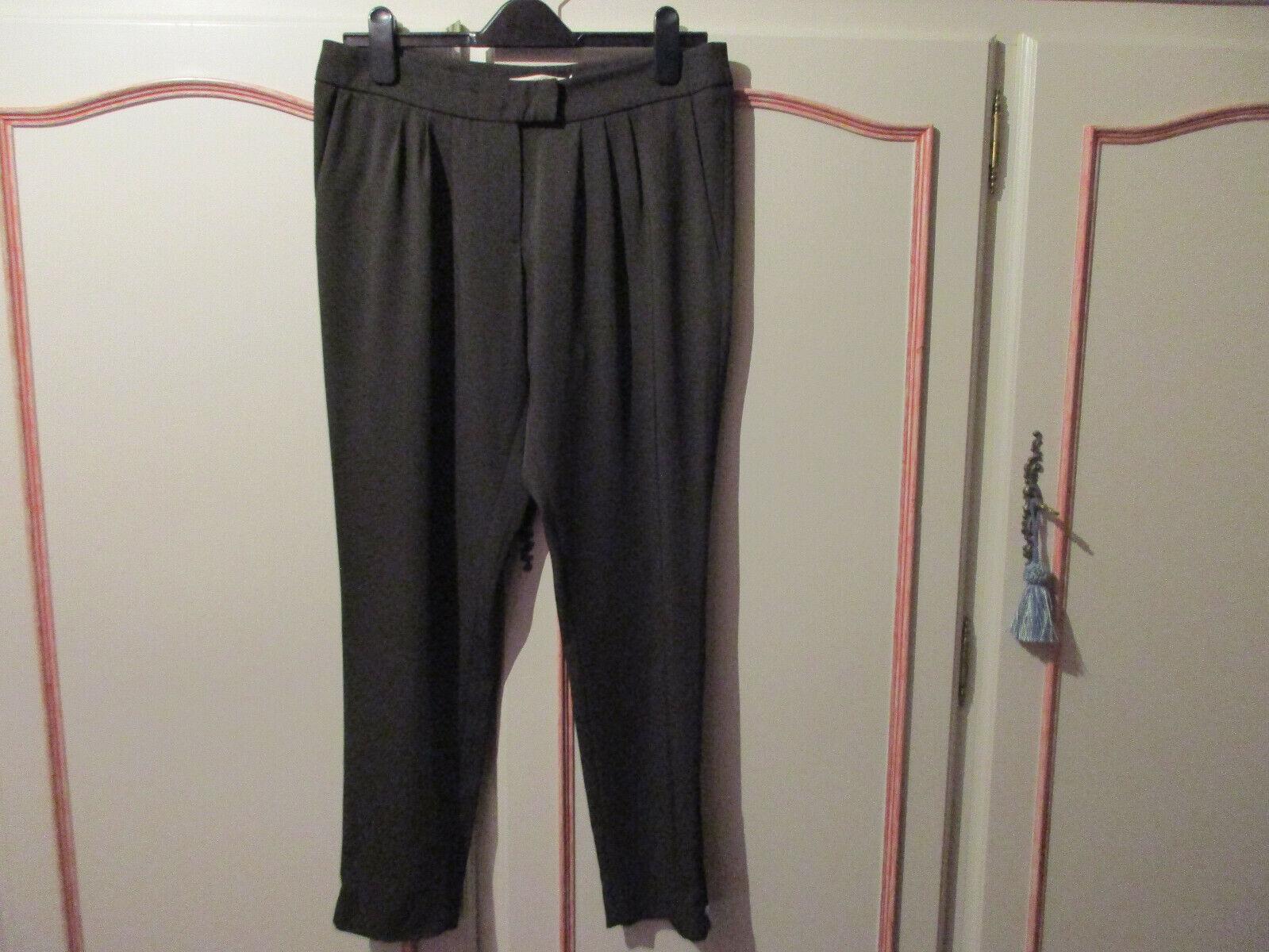 Pantalon manoukian kaki à pinces fermeture bas pantalon fluide t.40 parfait état