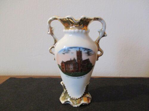 Circa 1915 Souvenir Porcelain Vase High School Moline Illinois #