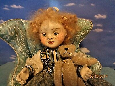 """OOAK Judith and Lucia Friedericy doll/ Wax over Porcelain/"""" Girl with Bear"""""""
