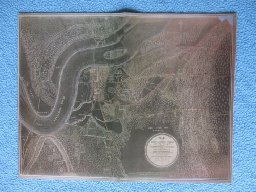 "#  Civil War Map - ""The Black Map"" Chattanooga, Tennessee & Vicinity - FRAME IT"