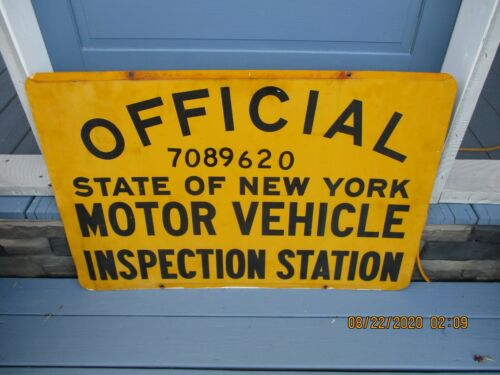 OFFICIAL NEW YORK STATE MOTOR VEHICLE INSPECTION DOUBLE SIDED SIGN