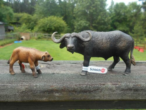 AFRICAN BUFFALO & CALF BY SCHLEICH; toy/14640/14641/ RETIRED
