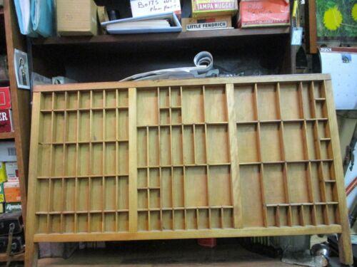 "Printers Type Set Cabinet Drawer Tray Wood ANTIQUE 32"" x 16 3/4 x 1.5"" VINTAGE"