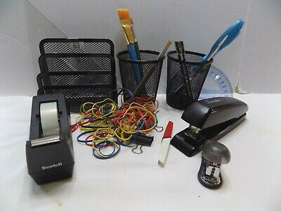 Lot Of Office Supplies Tape Dispenser Scissors 2 Staplers Ruler Rubber Bands
