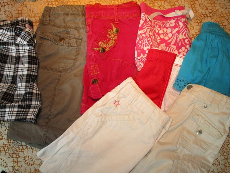 Large Lot of Girls Shorts, size 8.  7 Shorts, 1 Skirt.